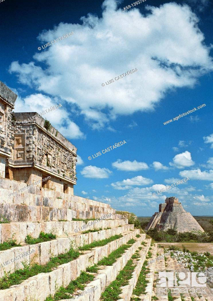 Stock Photo: Pyramid of the Magician seen from The Governor Palace, Uxmal, Yucatan, Mexico.
