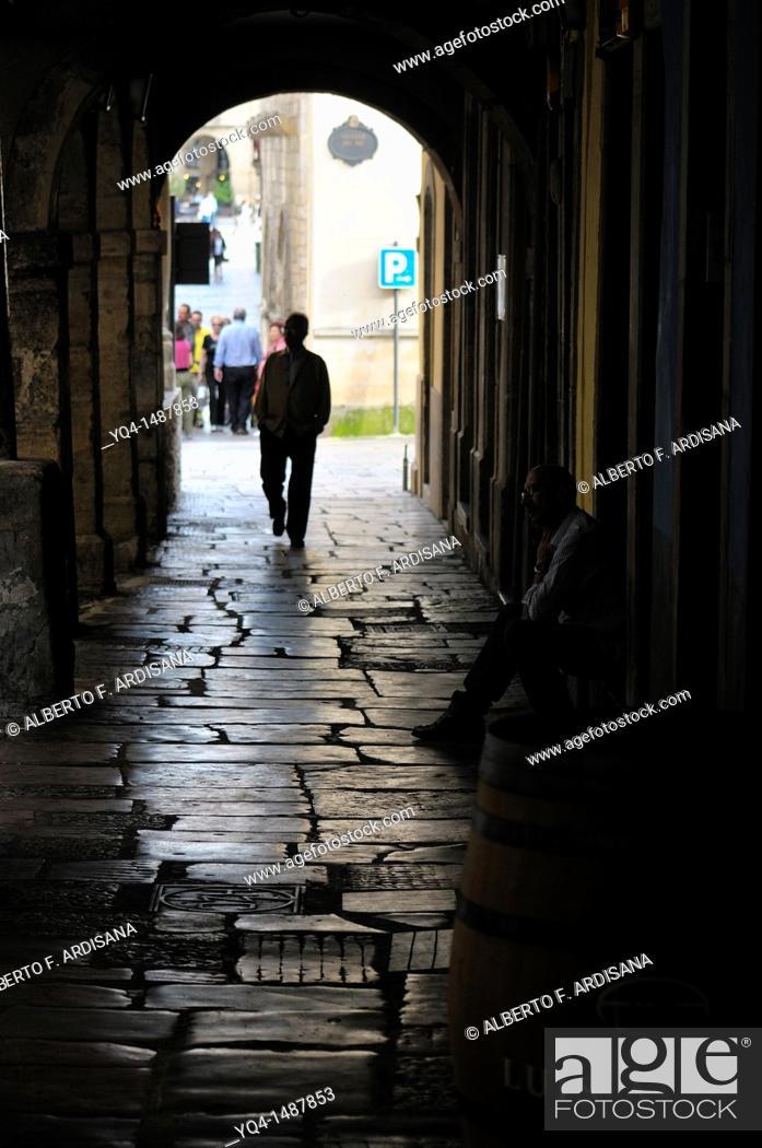 Stock Photo: Calle Galiana street, Aviles, Asturias, Spain.