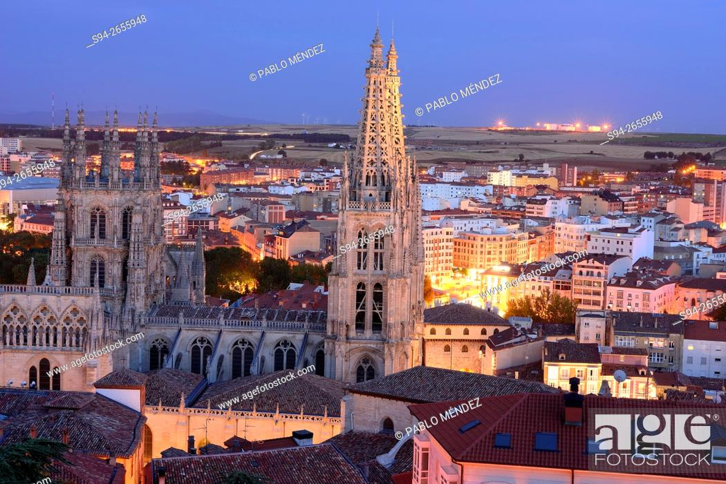 Stock Photo: Overview of Burgos cathedral from the castle, Burgos, Spain.