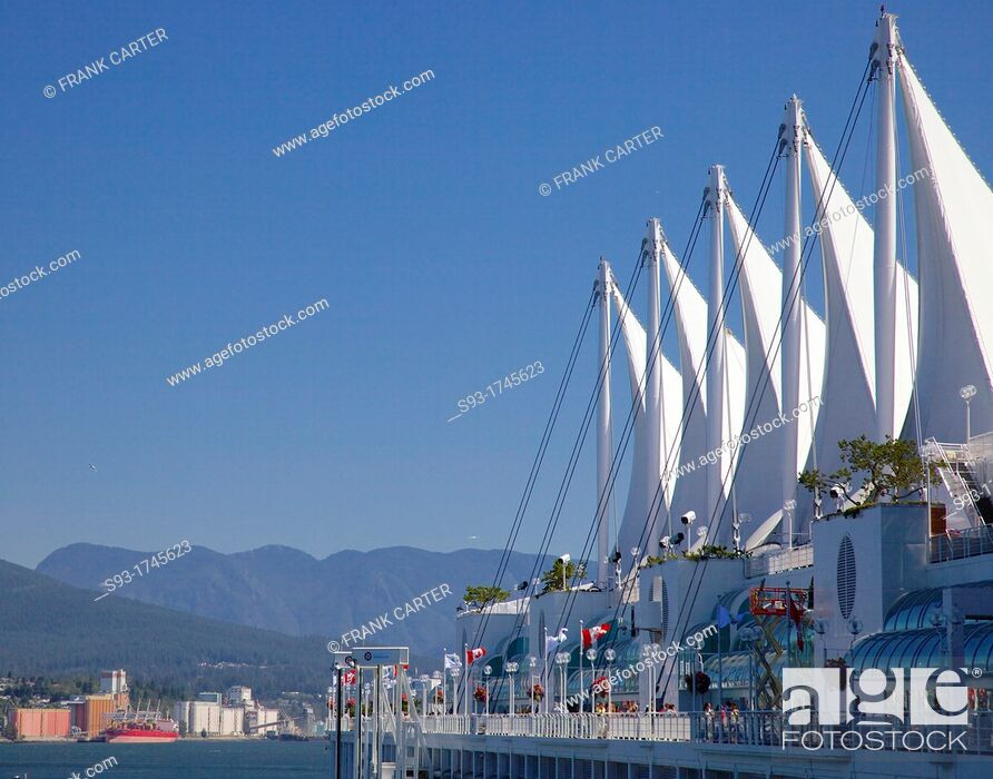 Stock Photo: Canada Place situated on the Burrard Inlet waterfront of Vancouver is the home of the Vancouver Convention Center and the Pan Pacific Vancouver Hotel.