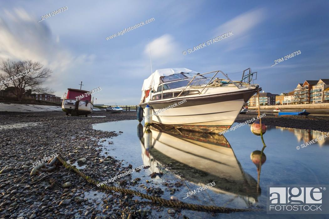 Stock Photo: Boats on river Adur in Shoreham-by-Sea, West Sussex, England.