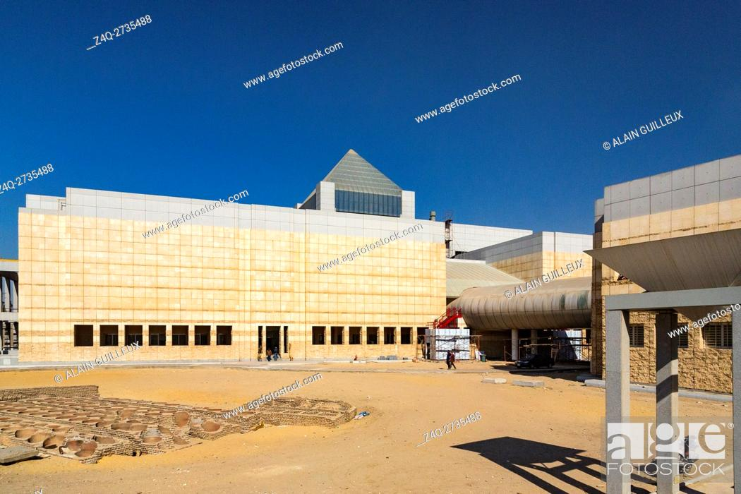 Stock Photo: Egypt, Cairo, the National Museum of Egyptian Civilization, not yet inaugurated, in December 2015 : Main building, with the pyramid on top.