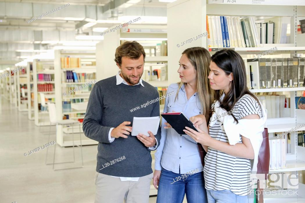 Stock Photo: Students in the library, University of the Basque Country, Donostia, San Sebastian, Spain.