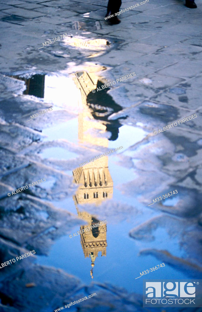 Stock Photo: Reflection of the Palazzo vecchio belltower. Florence. Italy.