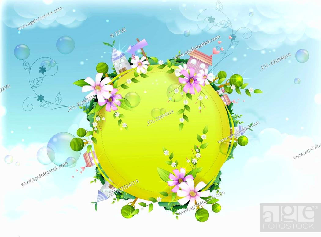 Stock Photo: Globe covered with spring flowers.
