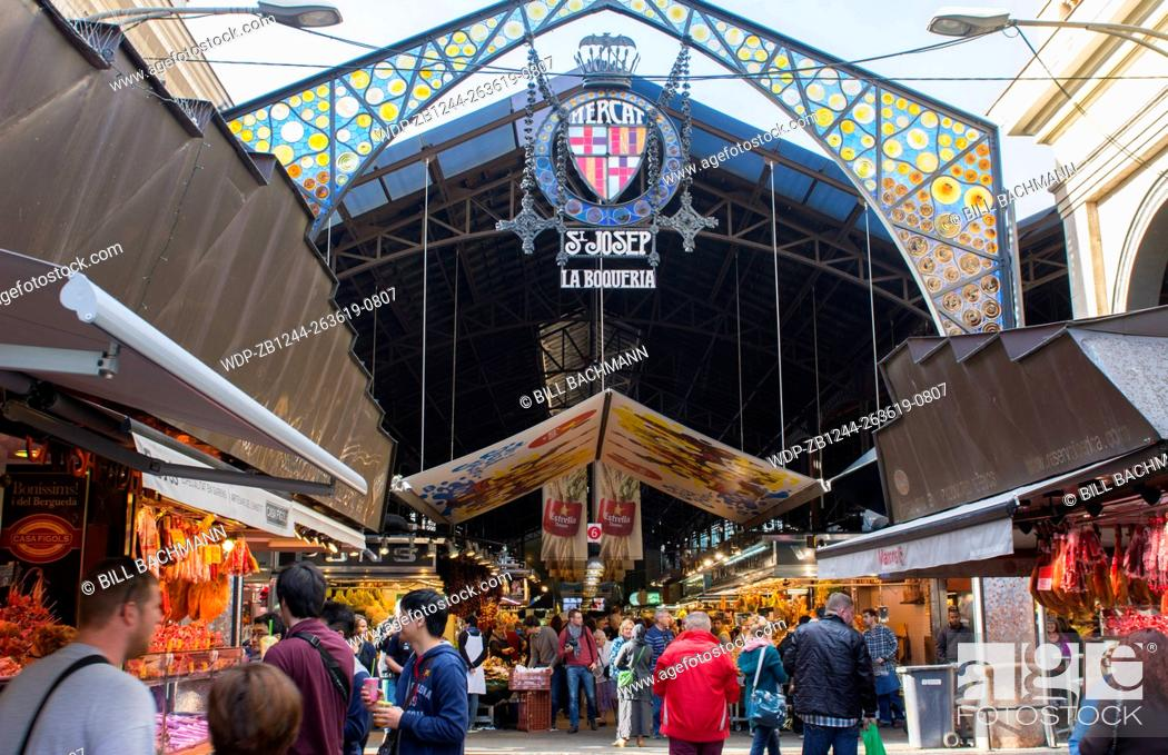 Stock Photo: Barcelona Spain market called St Joseph Market or La Boqueria front entrance sign.