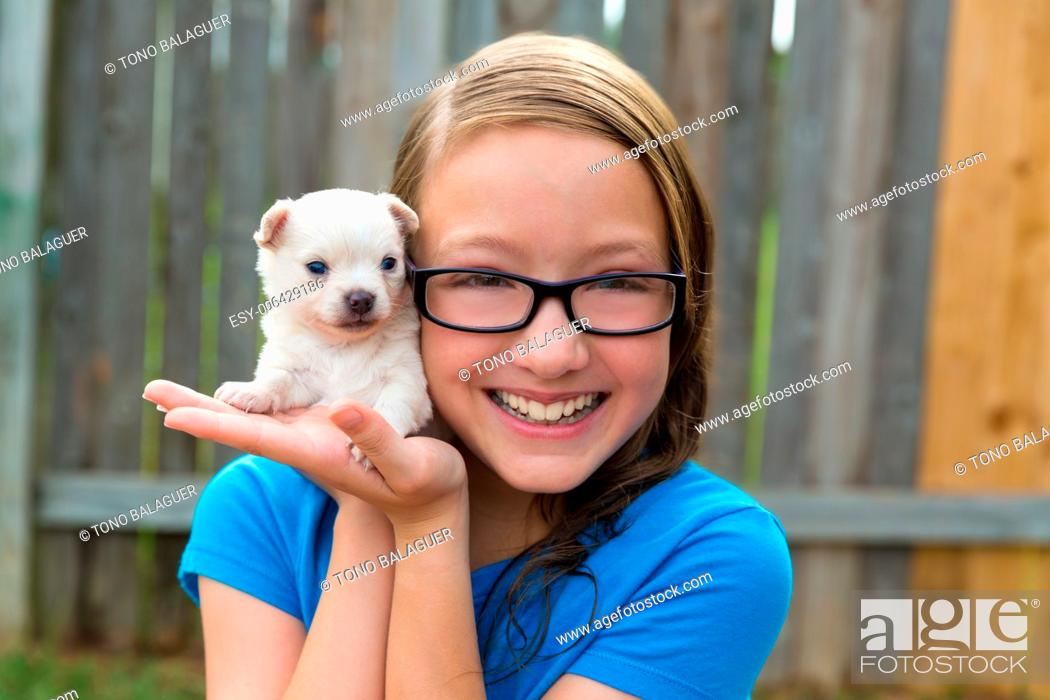 Stock Photo: kid girl with puppy pet chihuahua playing happy with doggy outdoor.