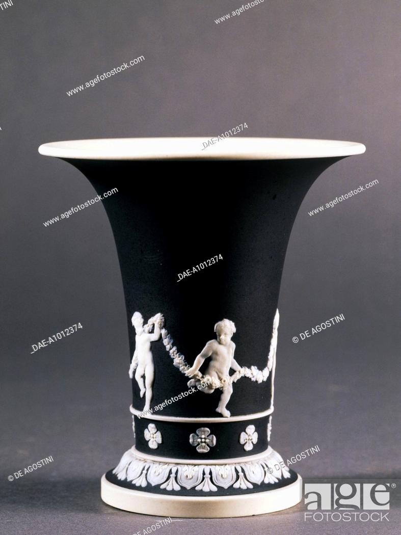 Truncated Cone Shaped Vase Decorated With Putti Black And White