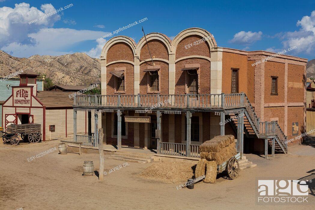Stock Photo: Mini Hollywood Film set, Desert of Tabernas, Almeria Province, Andalusia, Spain.