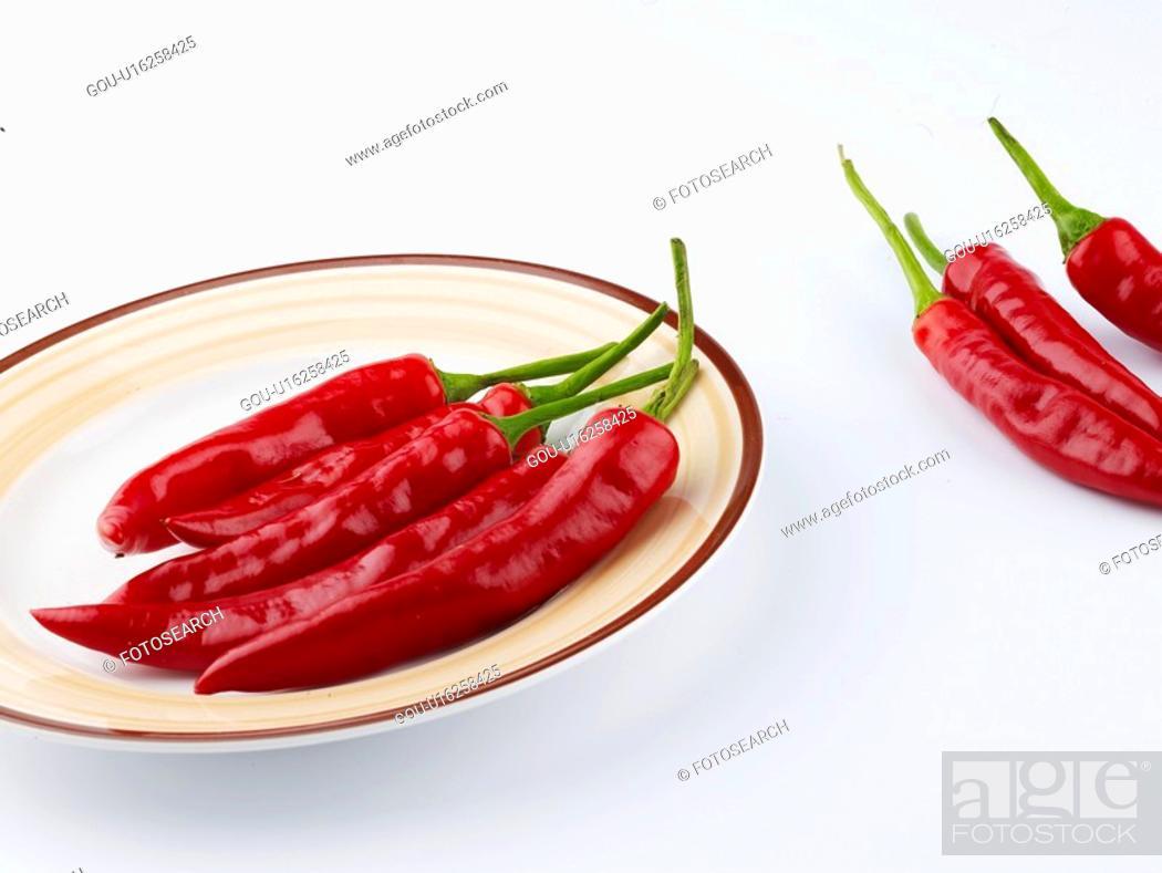 Stock Photo: cuisine, plate, food, hot pepper, red pepper, dish.