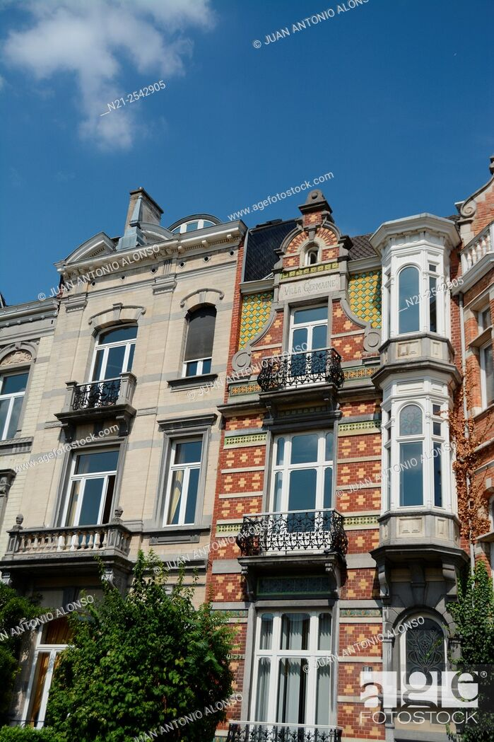 Stock Photo: Art Nouveu style Villa Germaine building -in the middle-. Brussels, Belgium, Europe.