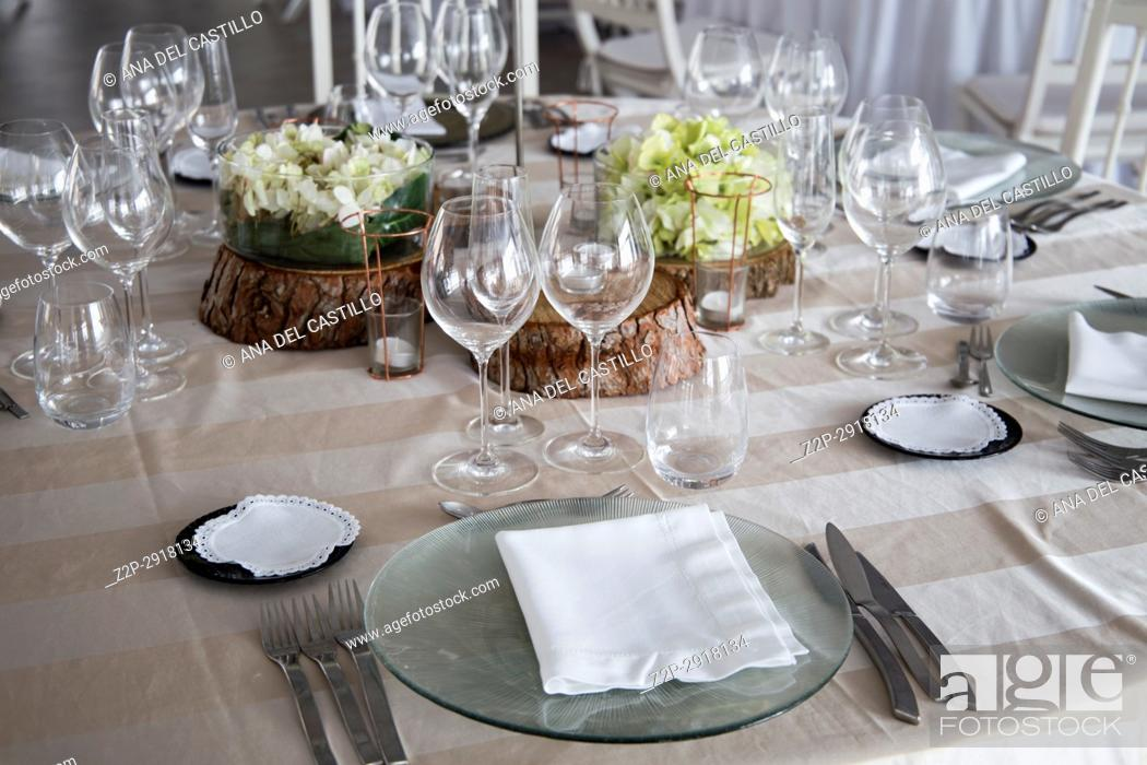 Stock Photo: Refined table setting for marriange celebration Spain.