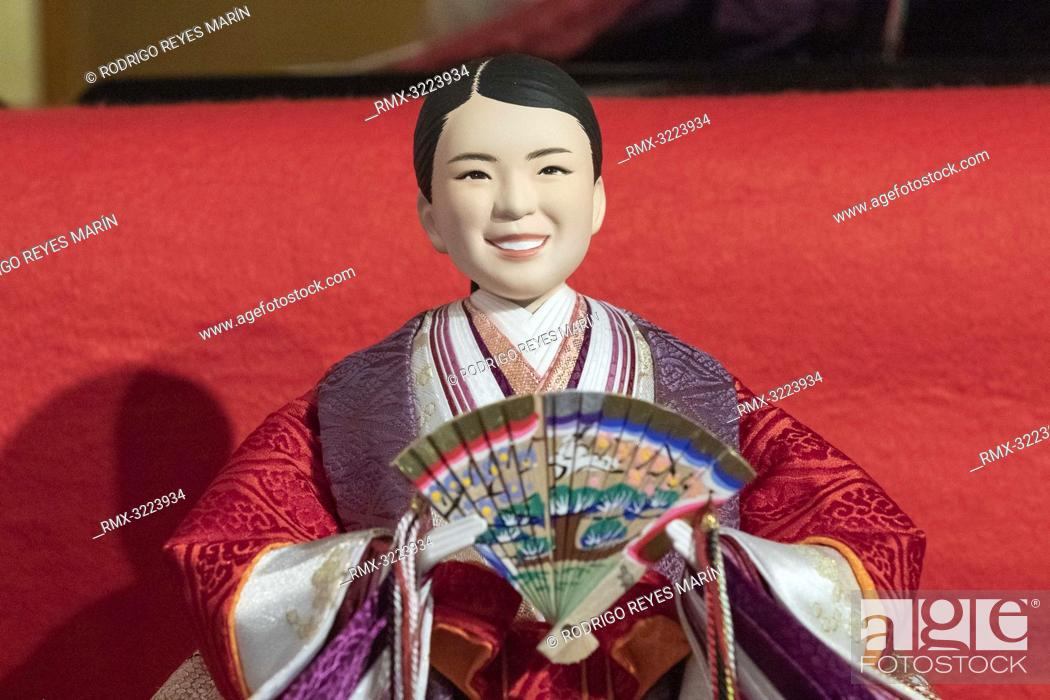 A Japanese 'hina' doll modeled after figure skater Rika