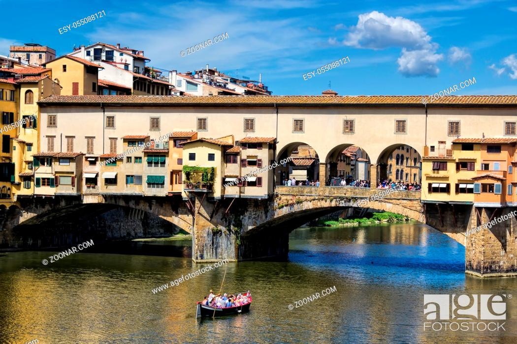 Stock Photo: Alt, Arno, Postcard, Reconsider, Ponte Vecchio, People, Water, Vacation, Beauty, Tourist Attraction, River, Sightseeing, Tourism, Tourist, Old, Architecture, Boat, Italy, Landmark, Italian, Attraction, Bridge, Panorama, Ponte, Tuscany, Florence, Vecchio, Boot, Florenz