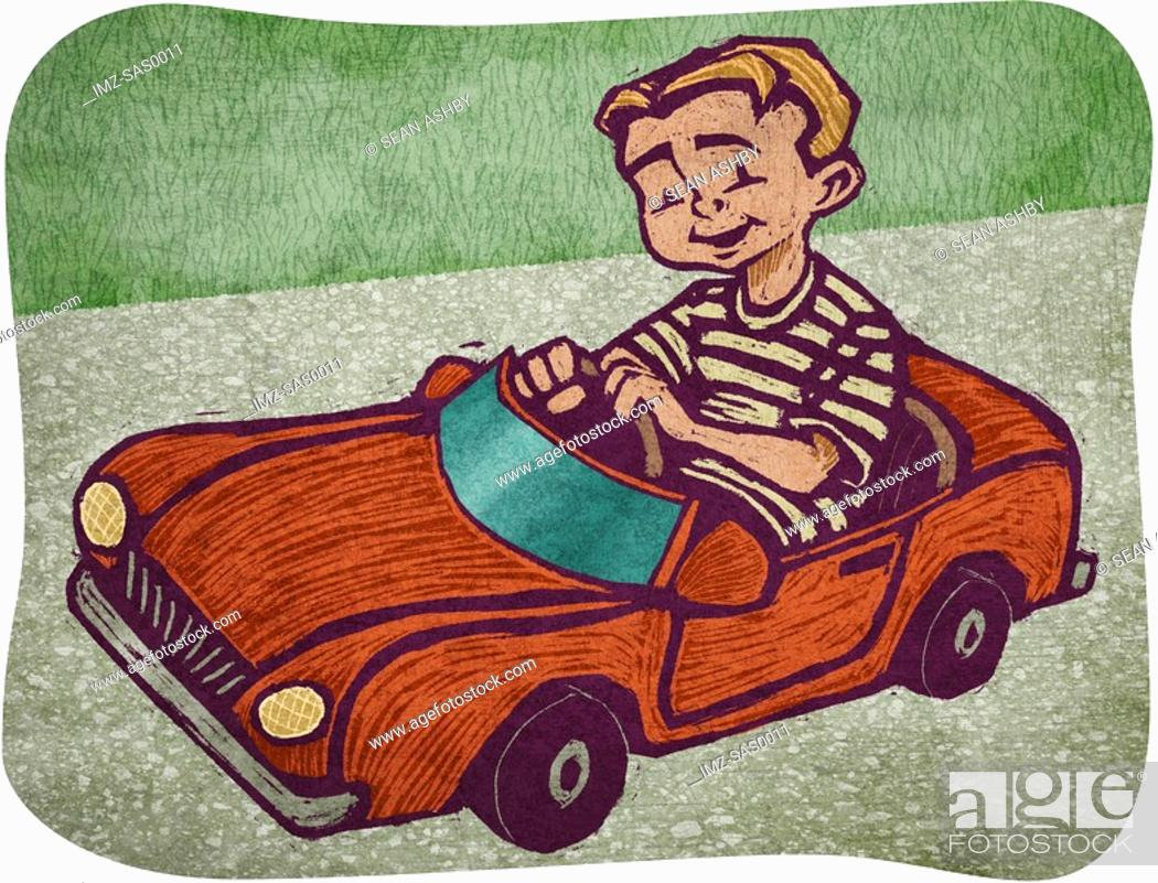 Stock Photo: A boy in a toy car.