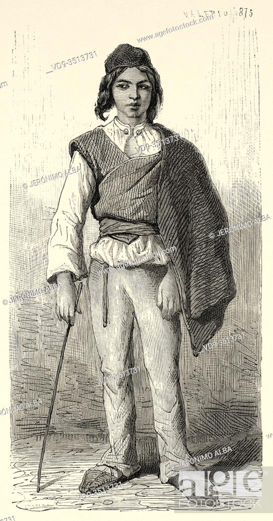 Stock Photo: Boy from Trogir, Croatia, Europe. Old engraving illustration Trip to Istria & Dalmatia 1874 by Charles Yriarte.