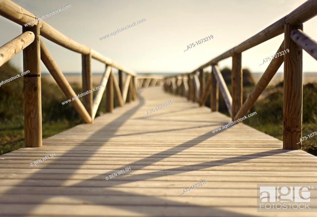 Stock Photo: Wooden boardwalk.
