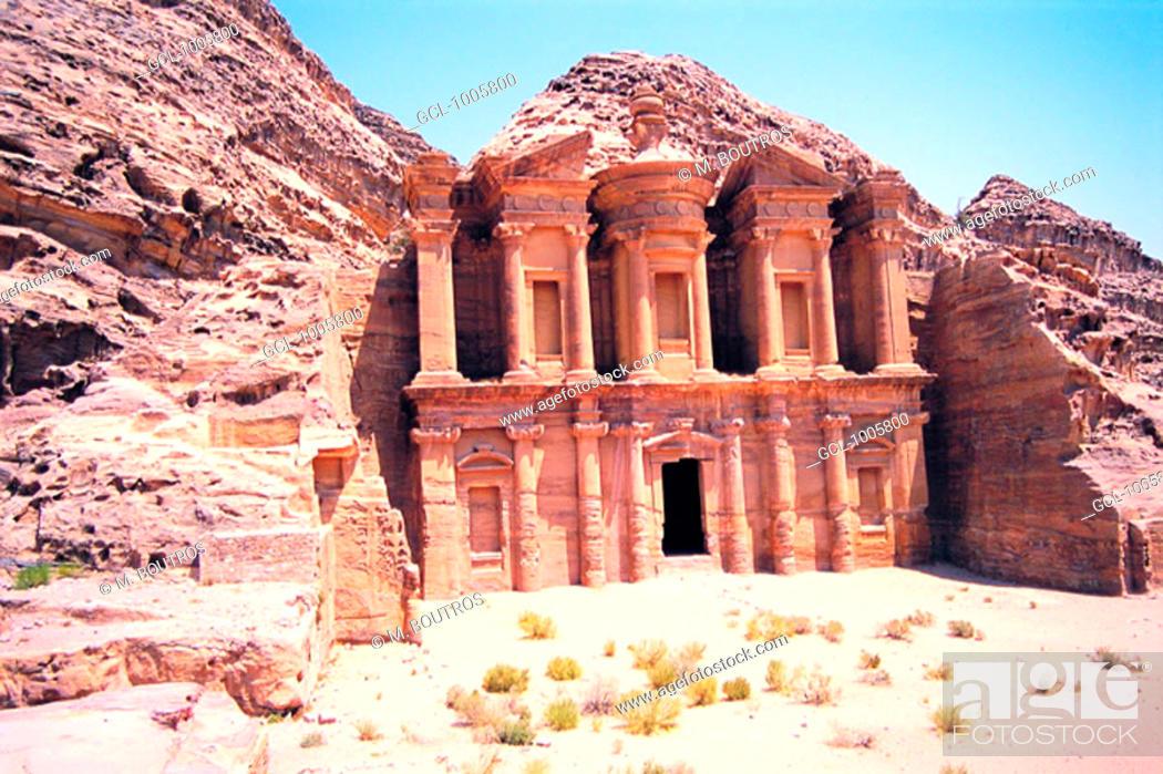 Stock Photo: Facade of Ed Deir (The Monastery) in Petra, Jordan.