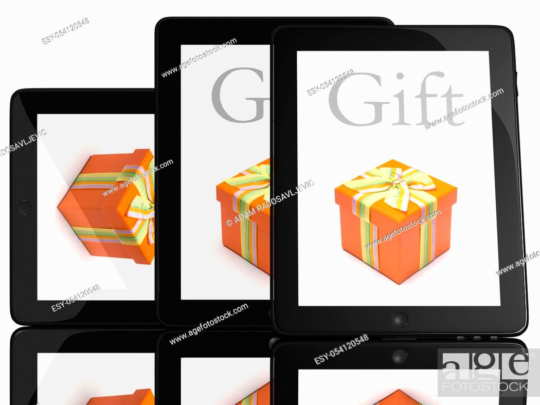 Stock Photo: Gift on screen of teblet computer 3D model isolated on white.