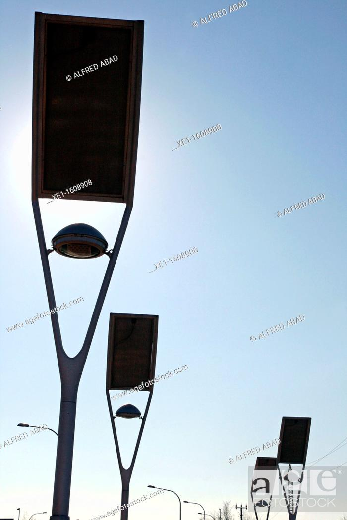 Stock Photo: lamp with solar panels, Mollet del Valles, Catalonia, Spain.