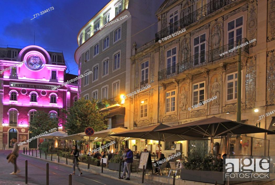 Stock Photo: Portugal, Lisbon, Bairro Alto, Teatro da Trindade, restaurant, nightlife,.