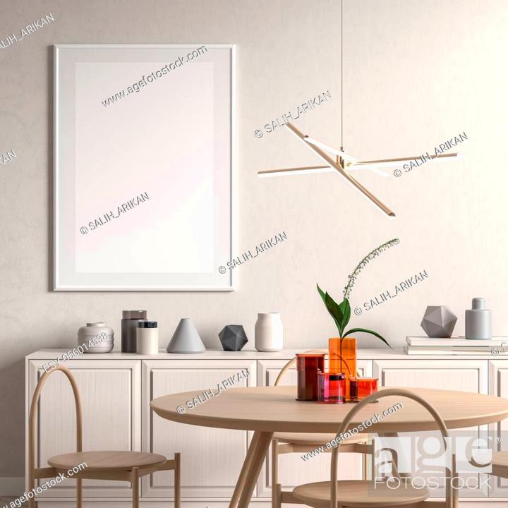 Stock Photo: Scandinavian style dining room with wooden chair and table. Minimalist dining room design. 3D illustration.
