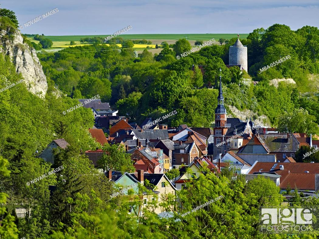 Stock Photo: View over Camburg with town hall tower and castle, Thuringia, Germany.