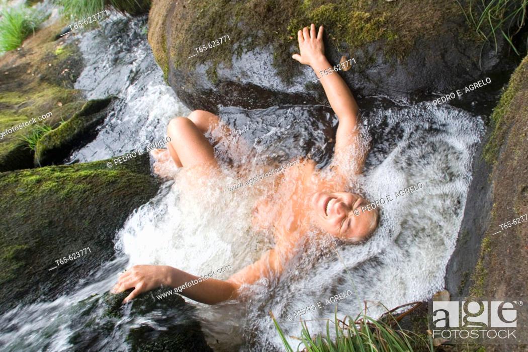 Stock Photo: Woman bathing. Galicia, Spain.