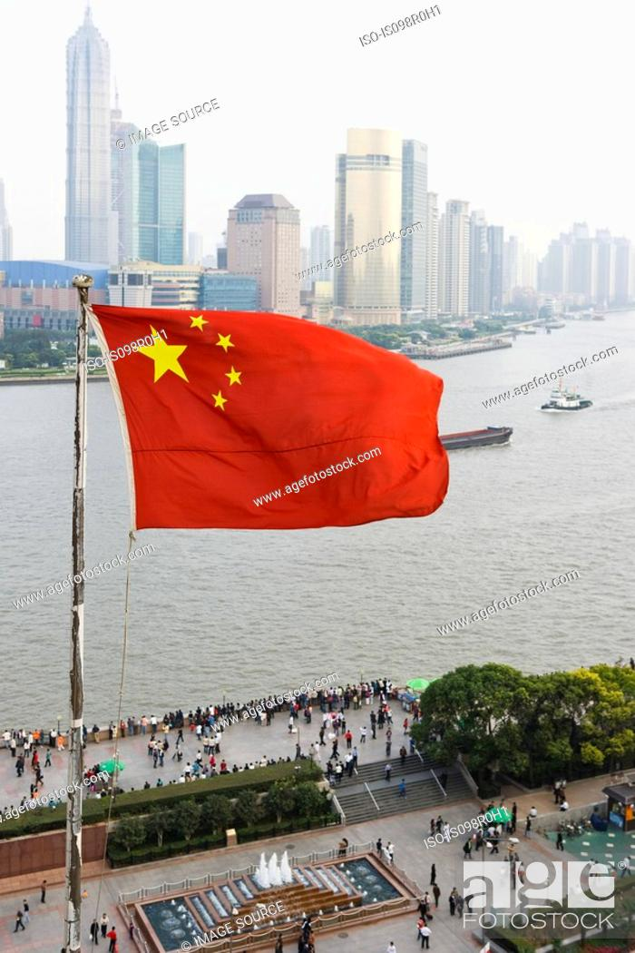 Stock Photo: Chinese flag and pudong shanghai.