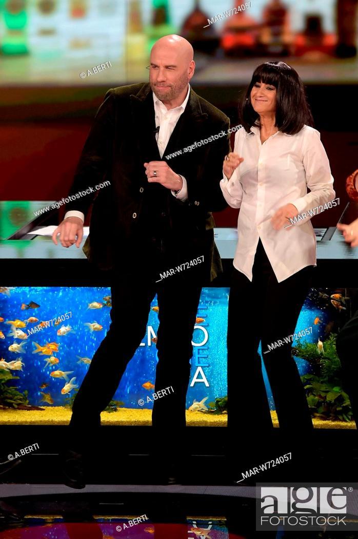Stock Photo: John Travolta, Luciana Littizzetto milano, 23-10-2019.