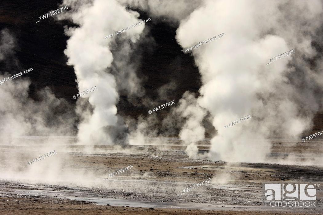 Stock Photo: El Tatio Geyser Field locally known as Los Géiseres del Tatio is located within the Andes Mountains of northern Chile at 4, 200 meters above mean sea level.