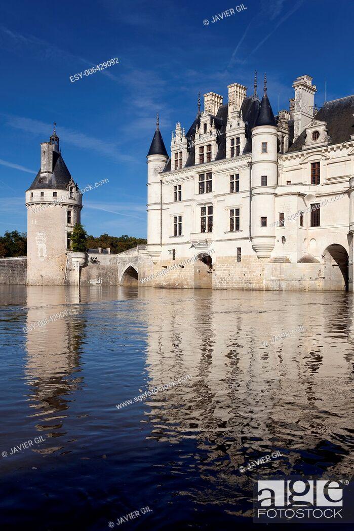 Stock Photo: Castle of Chenonceaux, Indre-et-Loire, Centre, France.