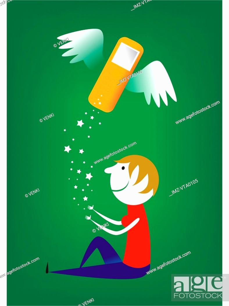 Stock Photo: A woman letting go of a flying cell phone.