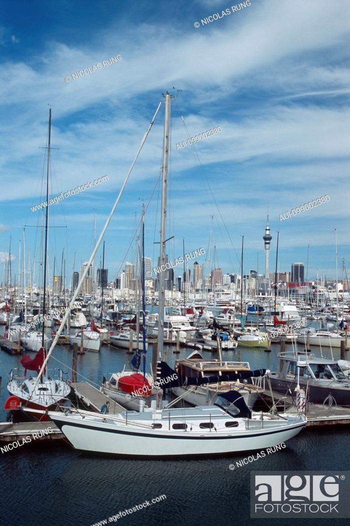 Stock Photo: New Zealand - North Island - Auckland - Westhaven Marina.