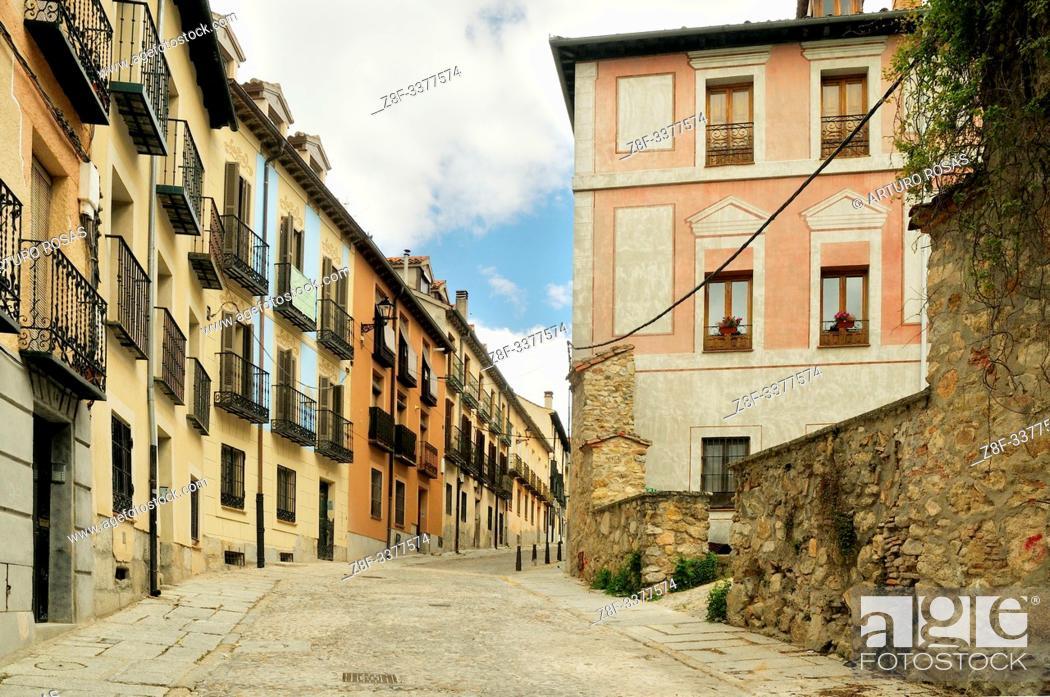 Stock Photo: Verderones Street. Real Sitio de San Ildefonso, Segovia.