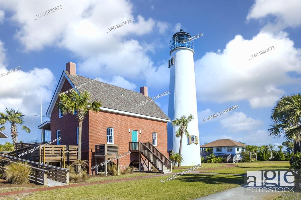 Stock Photo: St. George Island Lighthouse Museum & Gift Shop on St George Island in the panhandle or forgotten coast area of Florida in the United States.