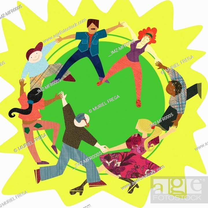 Stock Photo: A graphic representation of people holding hands and dancing in a circle.