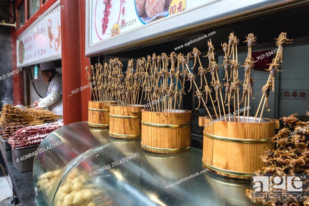 Stock Photo: Scorpions on Wangfujing Snack Street in Dongcheng district of Beijing, China.