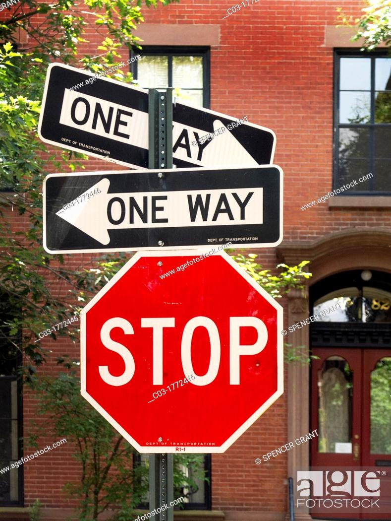One-way street signs pointing in opposite directions ...One Way Street Intersection