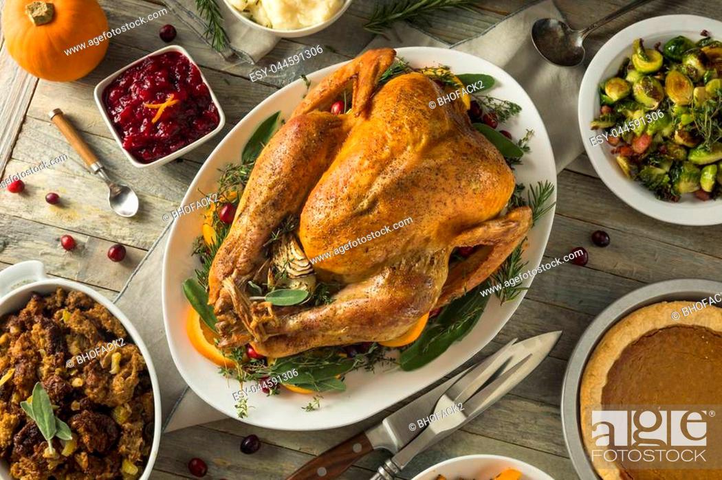 Stock Photo: Organic Free Range Homemade Thanksgiving Turkey with Sides.