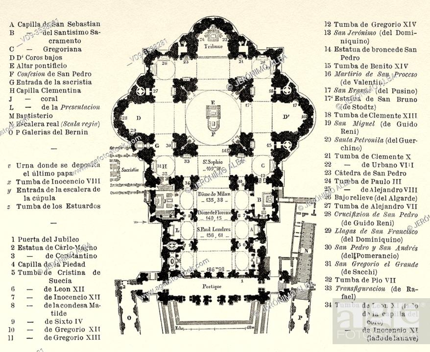 Imagen: Plan of the Basilica of Saint Peter, Vatican City State, Rome. Italy, Europe. Trip to Rome by Francis Wey 19Th Century.