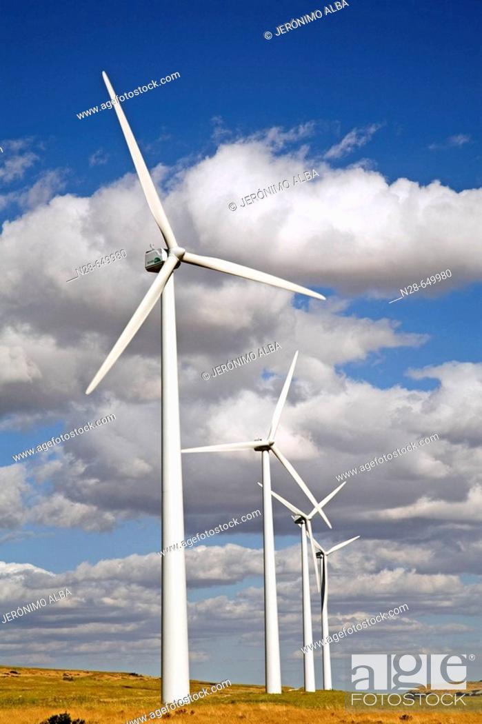 Stock Photo: Windfarm. Paramo de Masa. Burgos province, Spain.