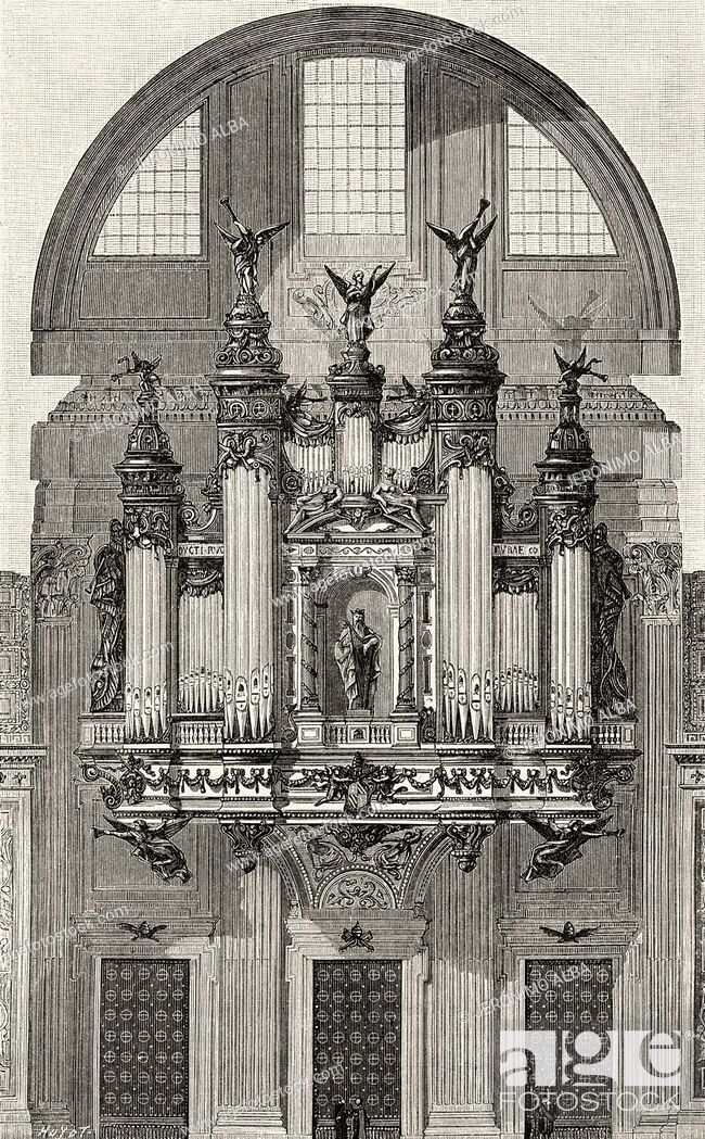 Stock Photo: Project of a monumental organ from the 19th century for the Basilica of Saint Peter, in the Vatican. Italy. original by the French organ builder Cavaillé-Coll.