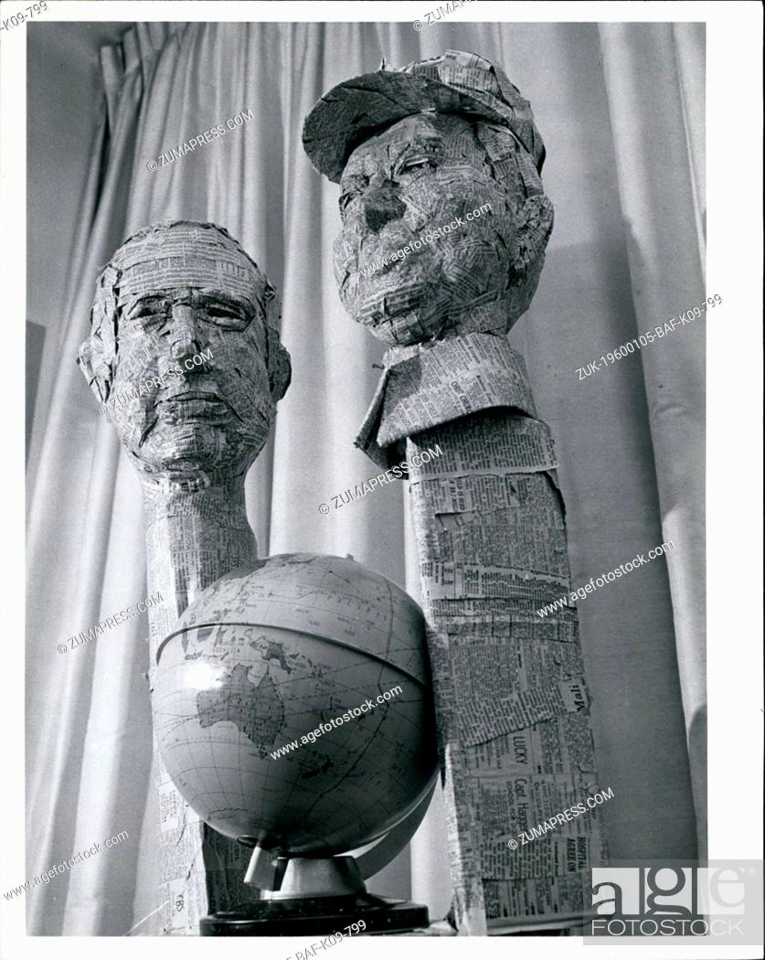 Stock Photo: 1968 - Boosting Labour In Paper: Over here on a flasting viisit Paris, Charles Tullio of New York famous for his sculpture fashioned out of newspapers.