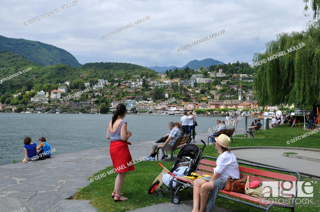 Stock Photo: South Switzerland: The lake promenade in Ascona next to Locarno City, where the film festival takes place.