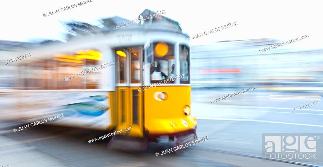 Stock Photo: Tram in Figueira Square, Baixa District, Lisbon, Portugal.