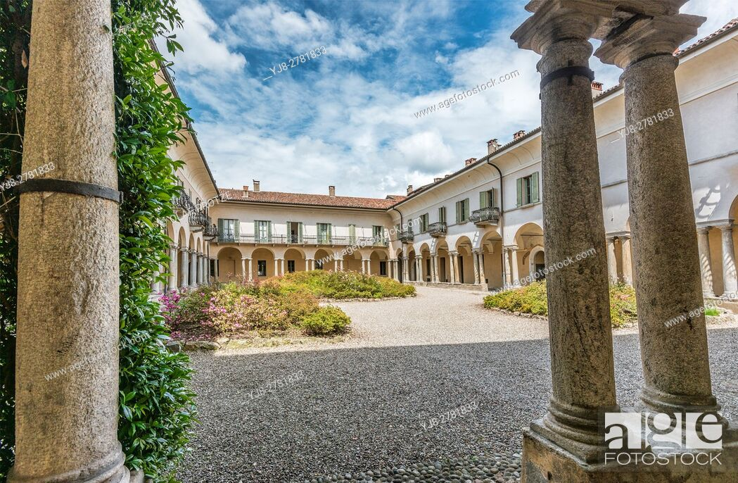 Stock Photo: Courtyard of Monastero di S. Antonino, Varese, Italy.