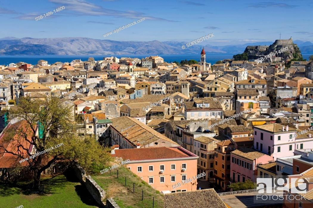 Stock Photo: High angle view of an old town, Corfu Town, Ionian Islands, Greece.