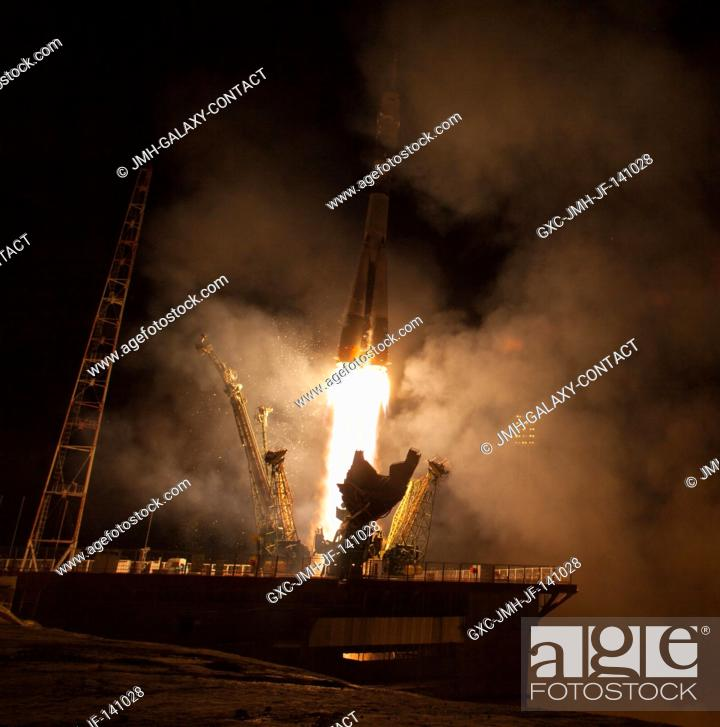 Stock Photo: The Soyuz TMA-14M rocket launches from the Baikonur Cosmodrome in Kazakhstan on Sept. 26, 2014, Kazakh time, carrying Expedition 41 Soyuz Commander Alexander.