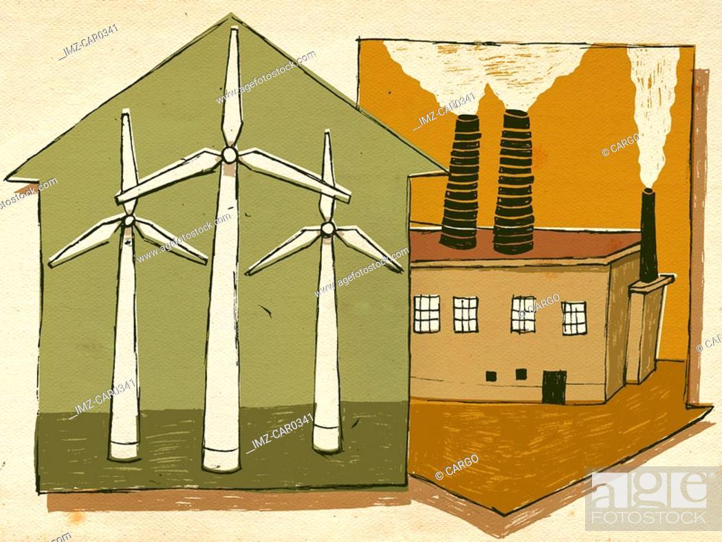 Stock Photo: Wind turbines and smoke stacks.
